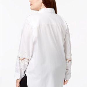 Tops - Calvin Klein White Cotton Lace Trim Blouse Sz 1X